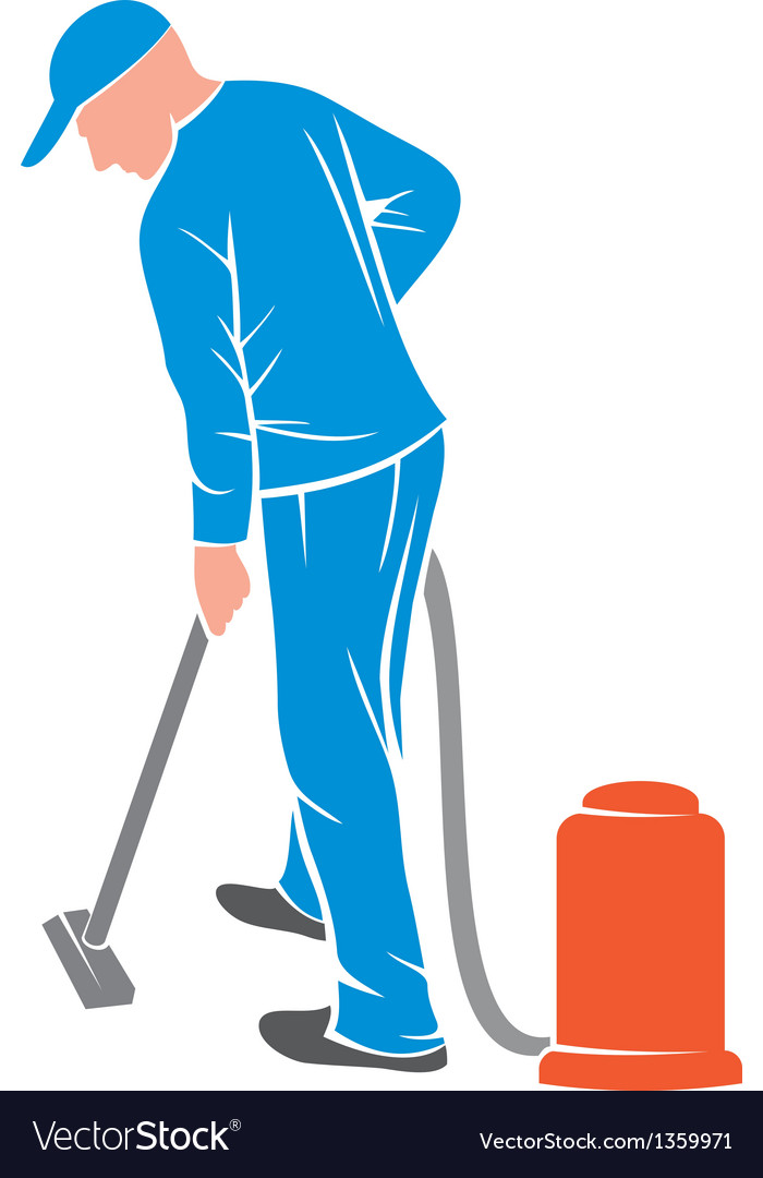 Man and a carpet cleaning machine vector | Price: 1 Credit (USD $1)