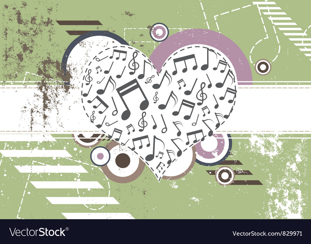 Music heart on retro background vector | Price: 1 Credit (USD $1)