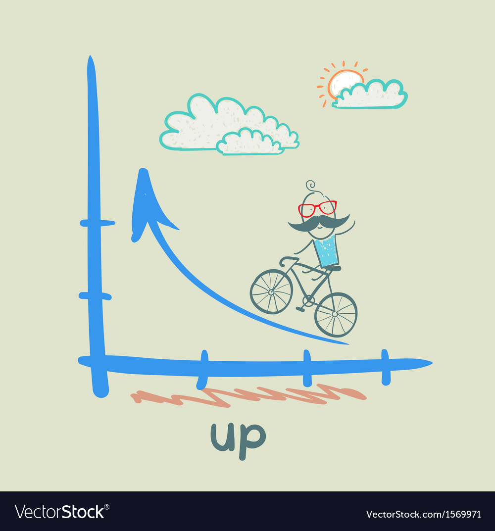 Person goes according to schedule up a bike vector | Price: 1 Credit (USD $1)