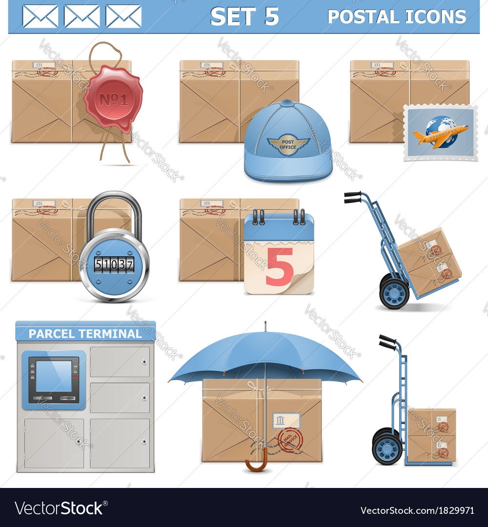 Postal icons set 5 vector | Price: 3 Credit (USD $3)