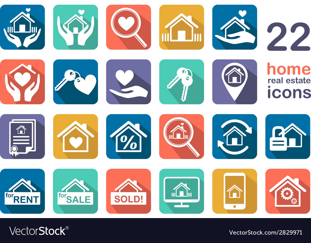 Real estate home icon set vector | Price: 1 Credit (USD $1)