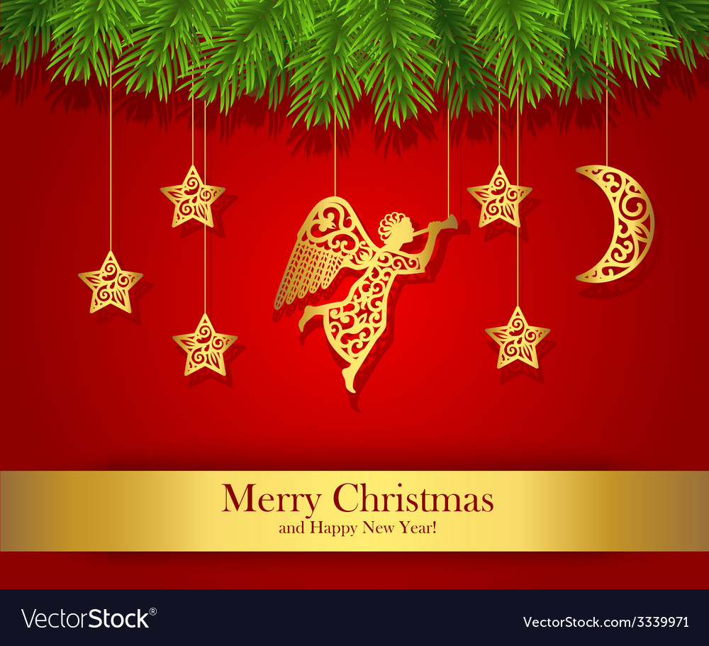 Red christmas greeting card decorated with gold vector | Price: 1 Credit (USD $1)