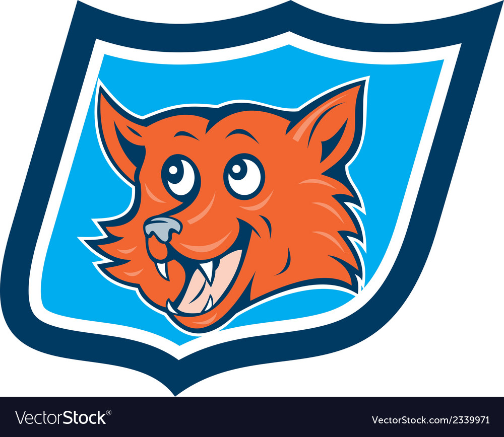 Red fox head shield cartoon vector | Price: 1 Credit (USD $1)