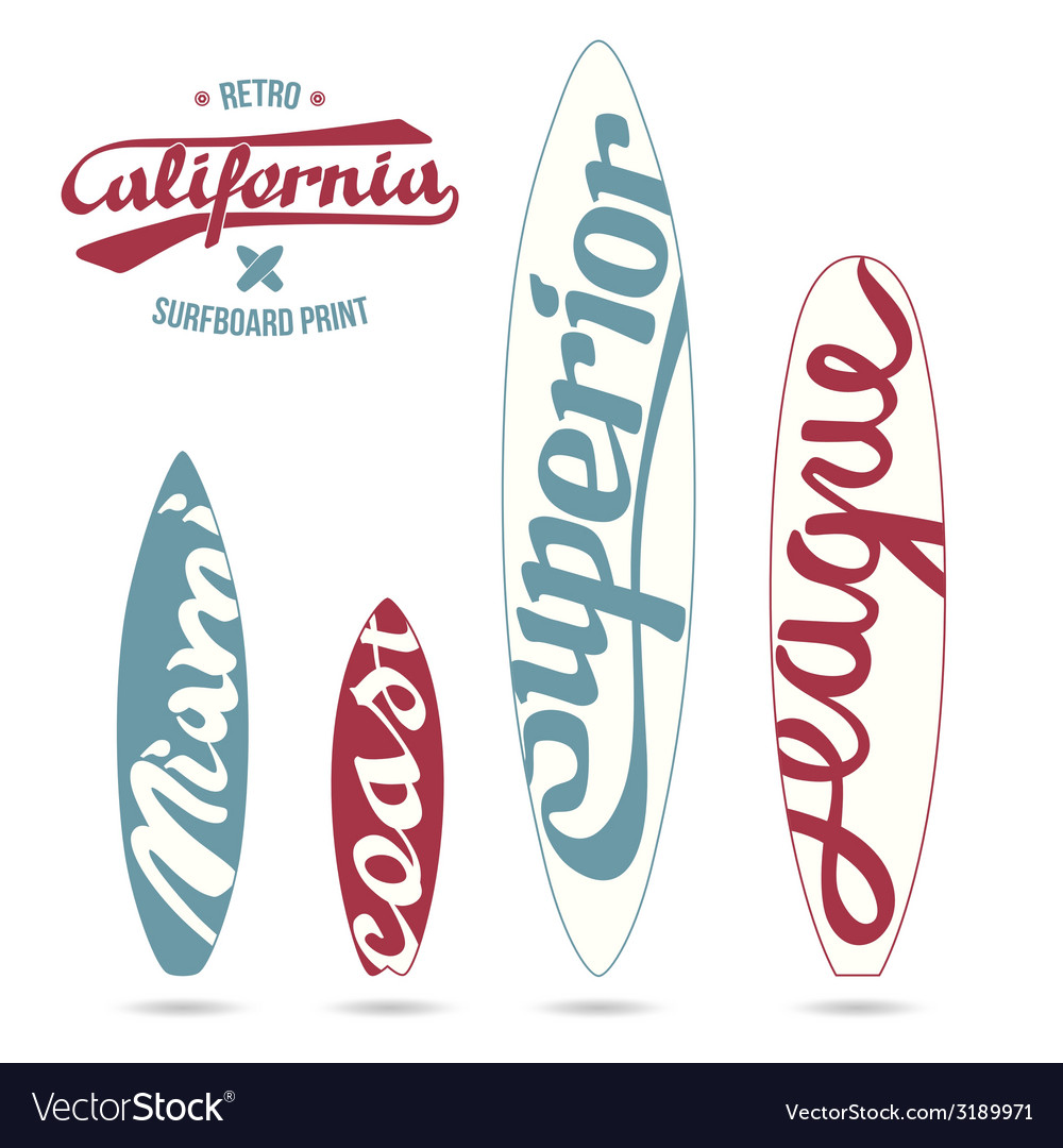 Retro vintage prints for surfboards vector | Price: 1 Credit (USD $1)