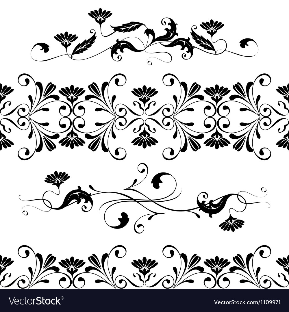 Set swirling decorative floral elements vector | Price: 1 Credit (USD $1)