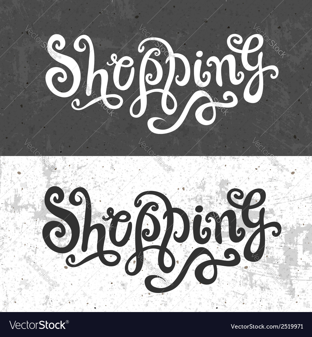 Shopping hand lettering vector   Price: 1 Credit (USD $1)