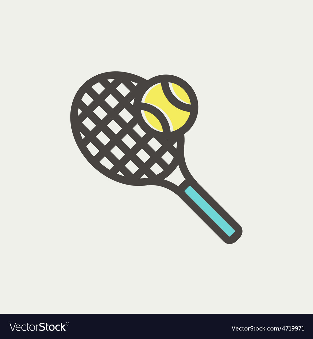 Tennis racket and ball thin line icon vector | Price: 1 Credit (USD $1)