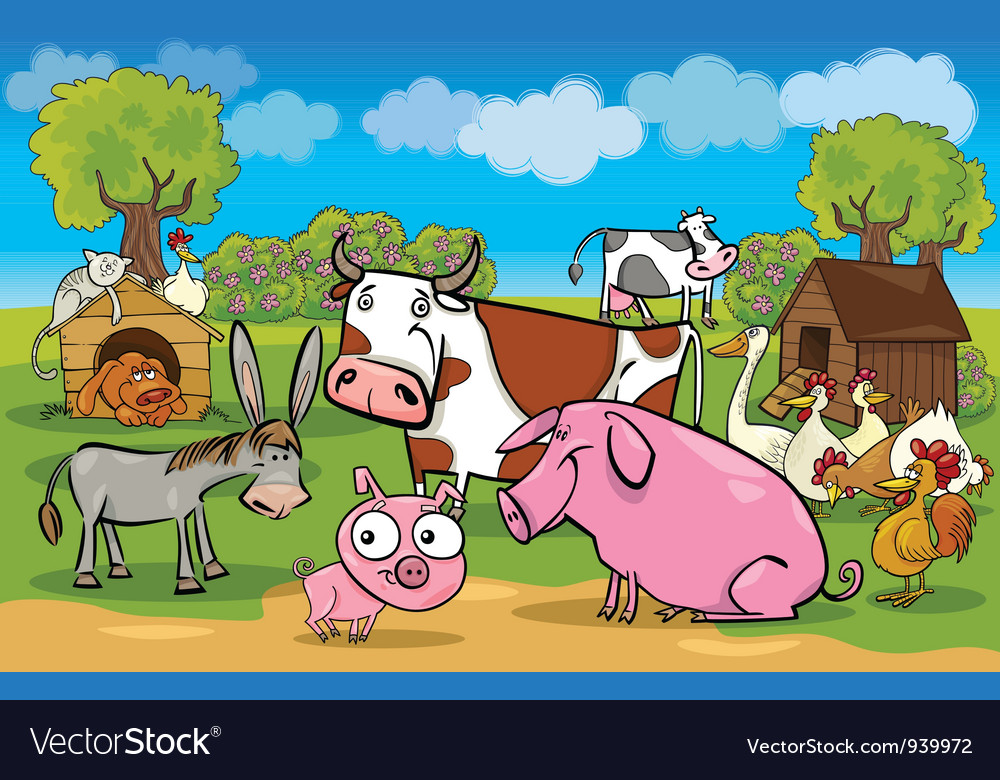 Cartoon rural scene with farm animals vector   Price: 3 Credit (USD $3)
