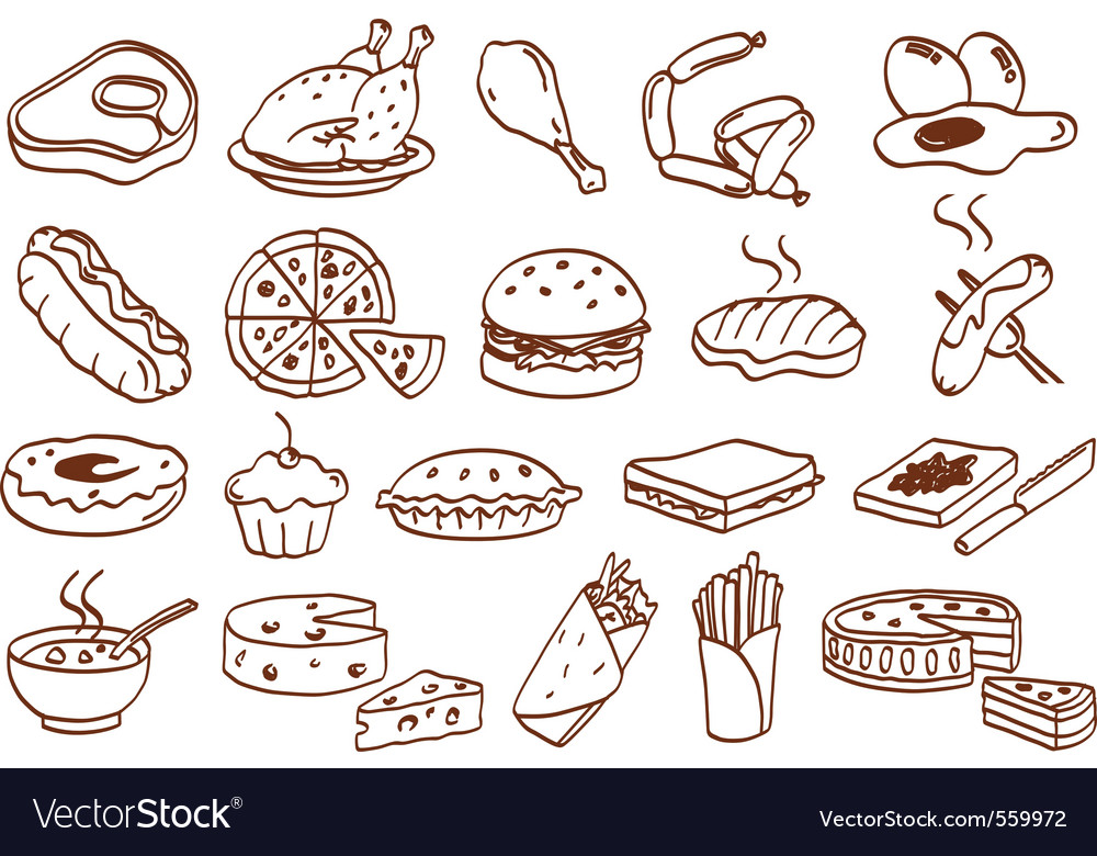 Food related icon set vector | Price: 1 Credit (USD $1)