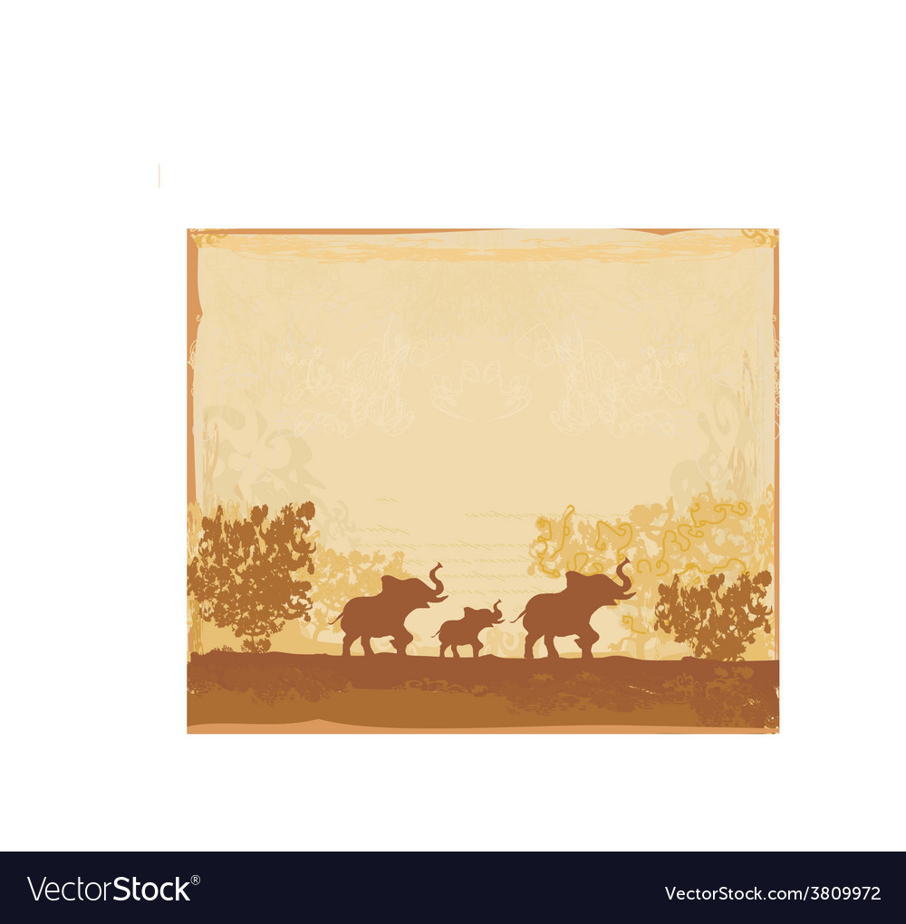 Grunge background with elephant family vector | Price: 1 Credit (USD $1)