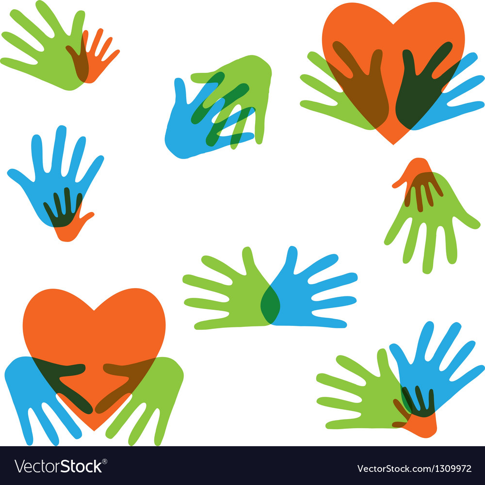 Hands and love abstract icons collection isolated vector | Price: 1 Credit (USD $1)