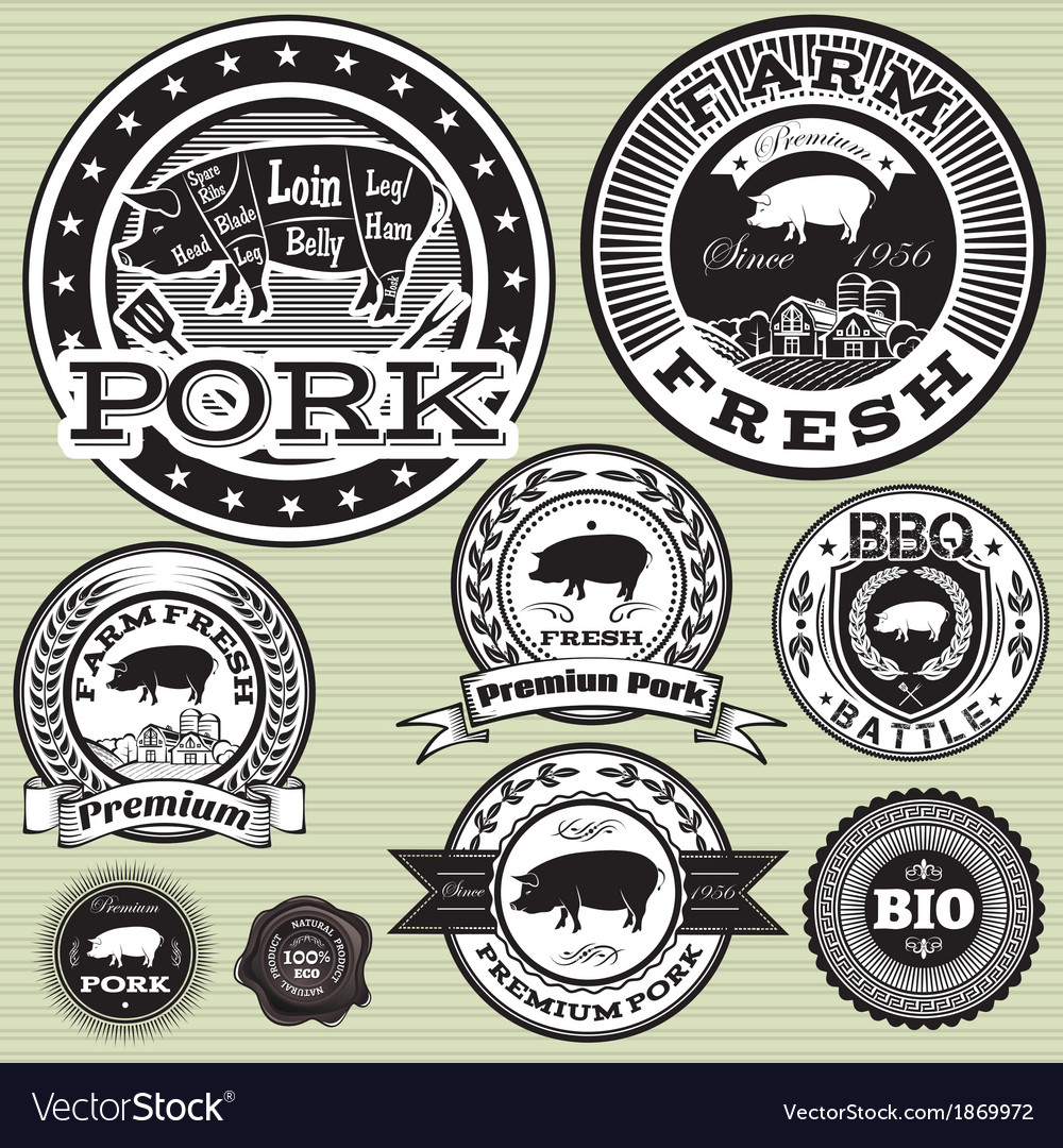 Set of labels with pig and pork vector | Price: 1 Credit (USD $1)