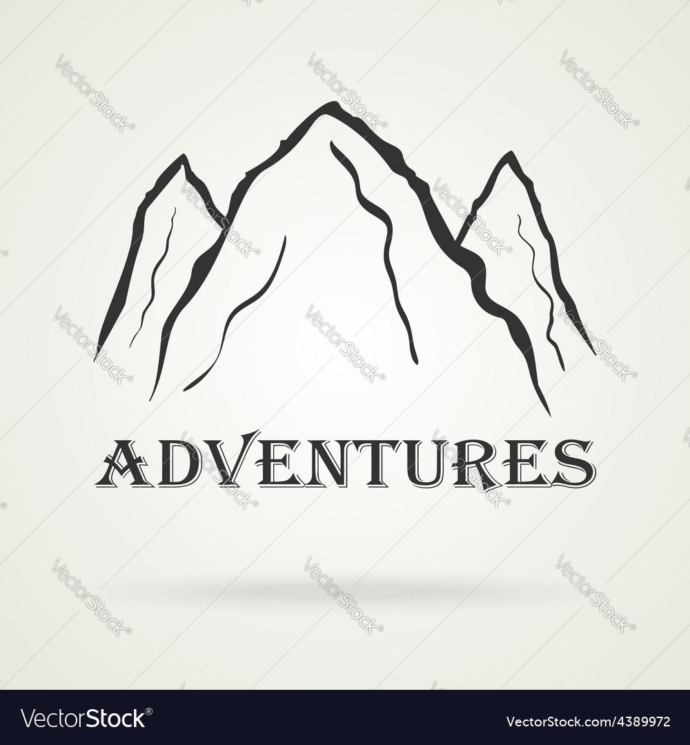 The three peaks vintage mountains adventure vector | Price: 1 Credit (USD $1)