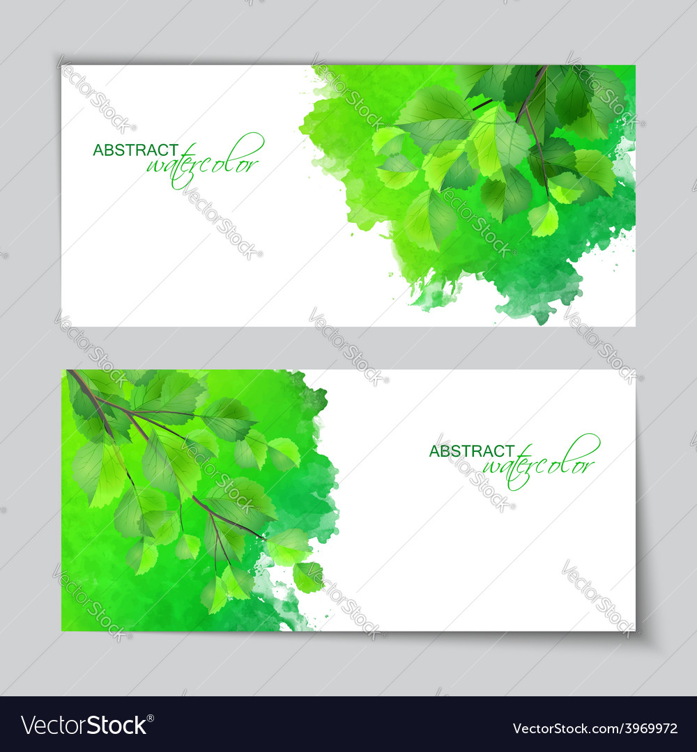 Watercolor banners with green leaves vector | Price: 1 Credit (USD $1)