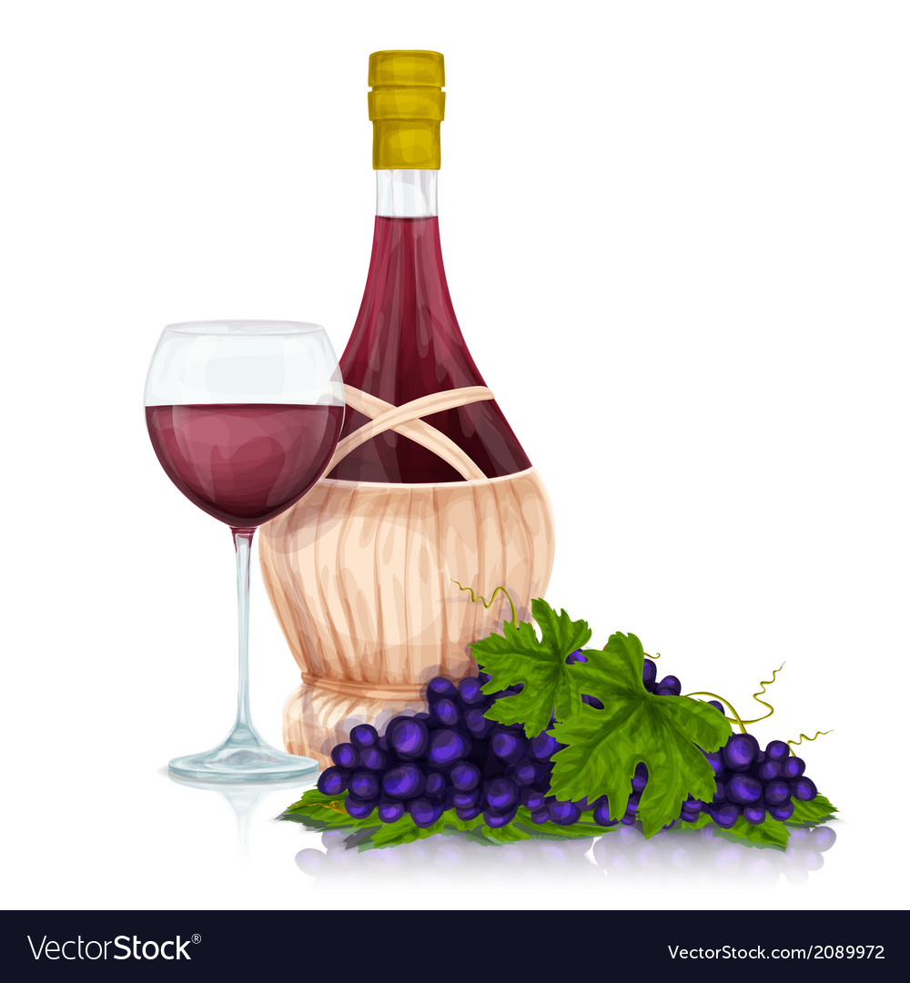 Wine jar and grape bunch print vector | Price: 1 Credit (USD $1)