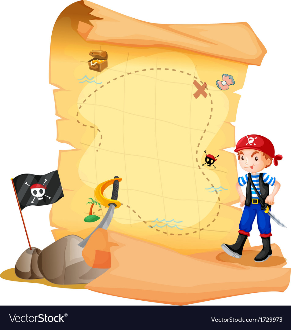 A treasure map with a young pirate vector | Price: 1 Credit (USD $1)