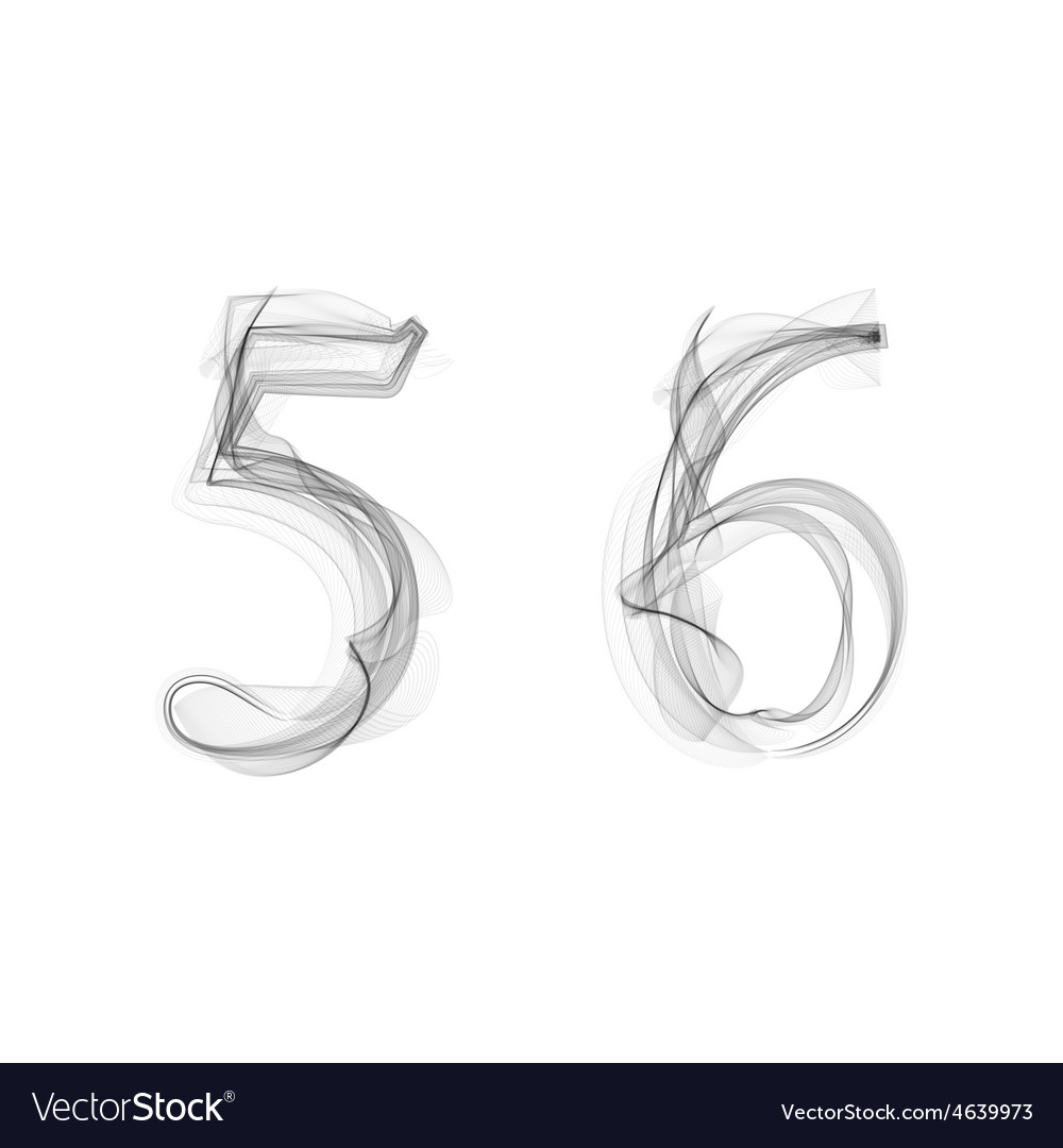 Black smoke font numbers 5 6 vector | Price: 1 Credit (USD $1)