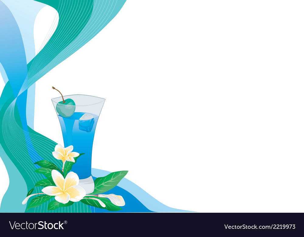 Blue drink card with plumeria vector | Price: 1 Credit (USD $1)