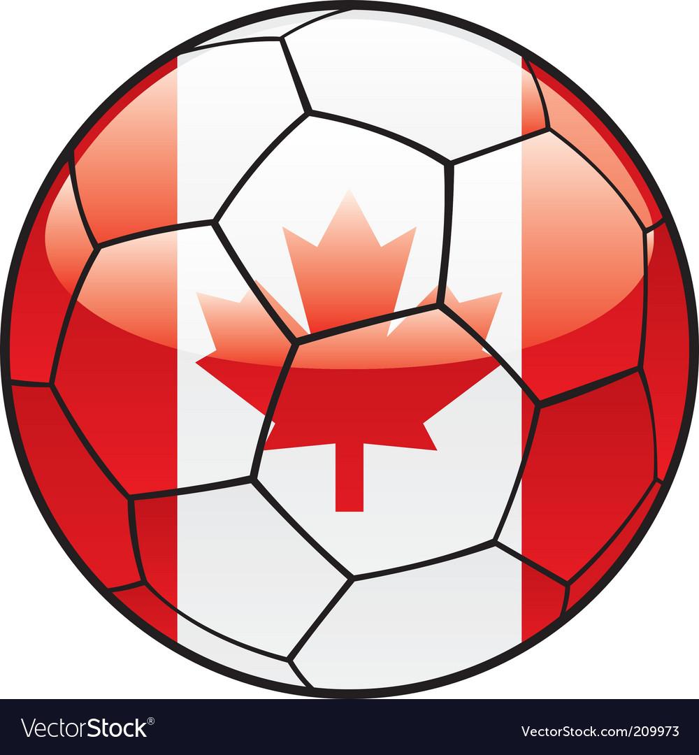 Canada flag on soccer ball vector