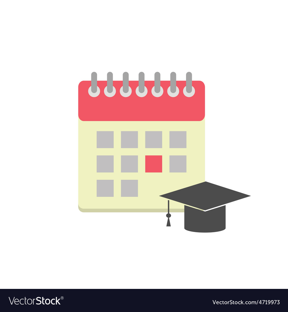 Flat style calendar icon with graduation hat vector   Price: 1 Credit (USD $1)