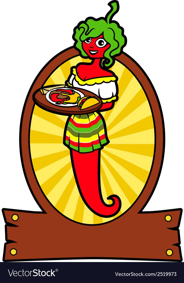 Girl hot pepper vector | Price: 1 Credit (USD $1)