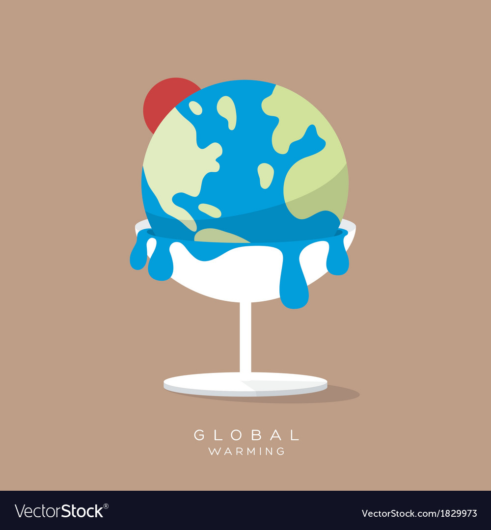 Global warming concept ice cream earth melts vector | Price: 1 Credit (USD $1)