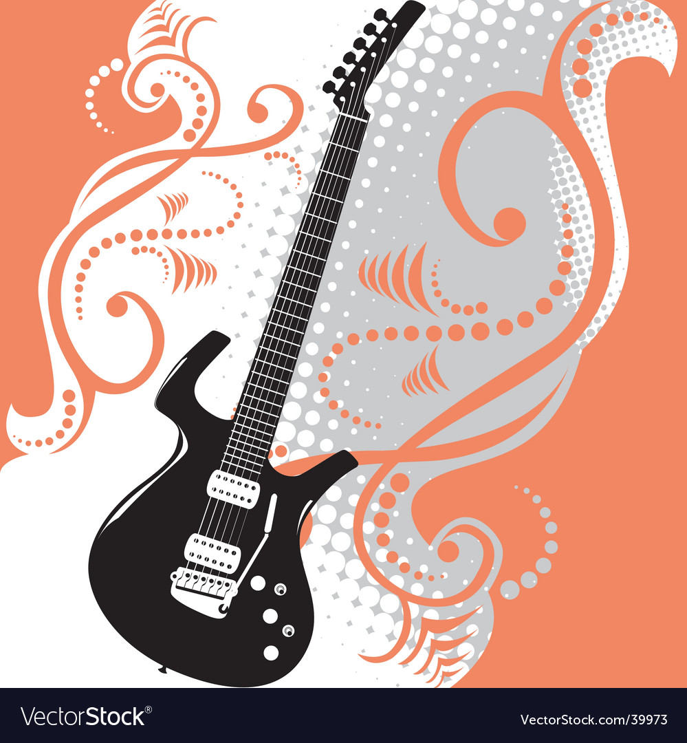 Guitar floral background vector | Price: 1 Credit (USD $1)
