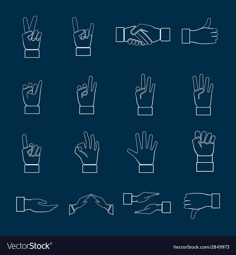 Hands icons set outline vector | Price: 1 Credit (USD $1)