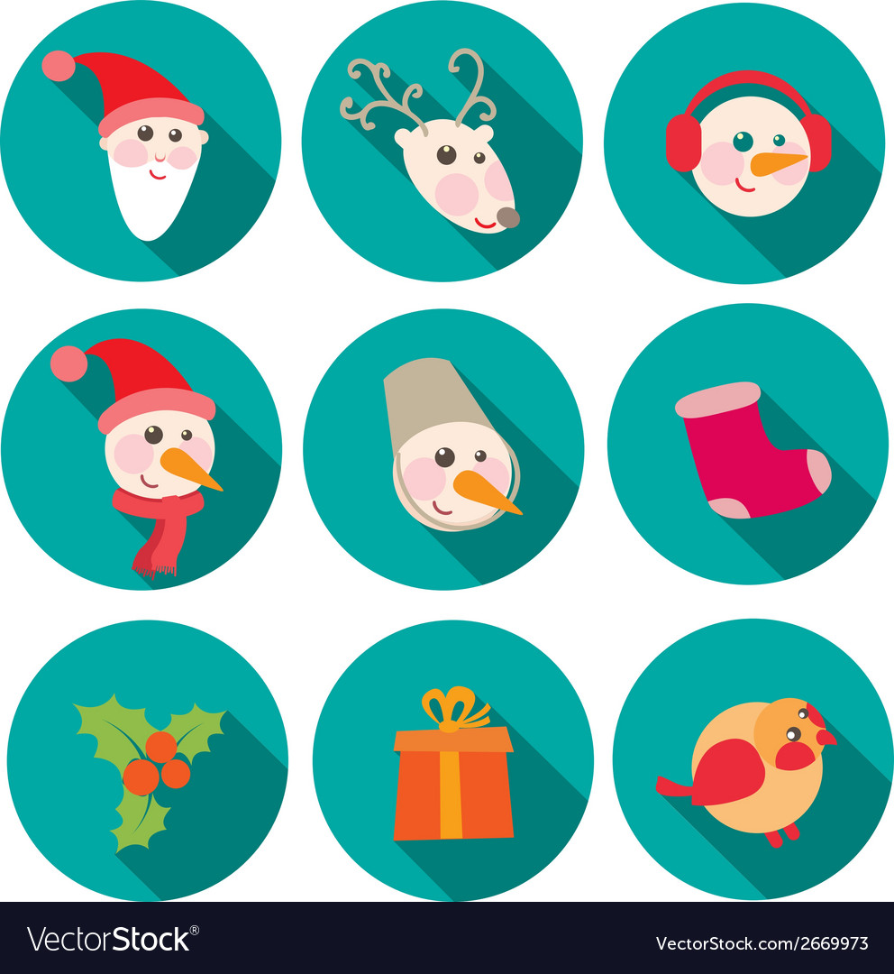New year and christmas flat icons set vector | Price: 1 Credit (USD $1)
