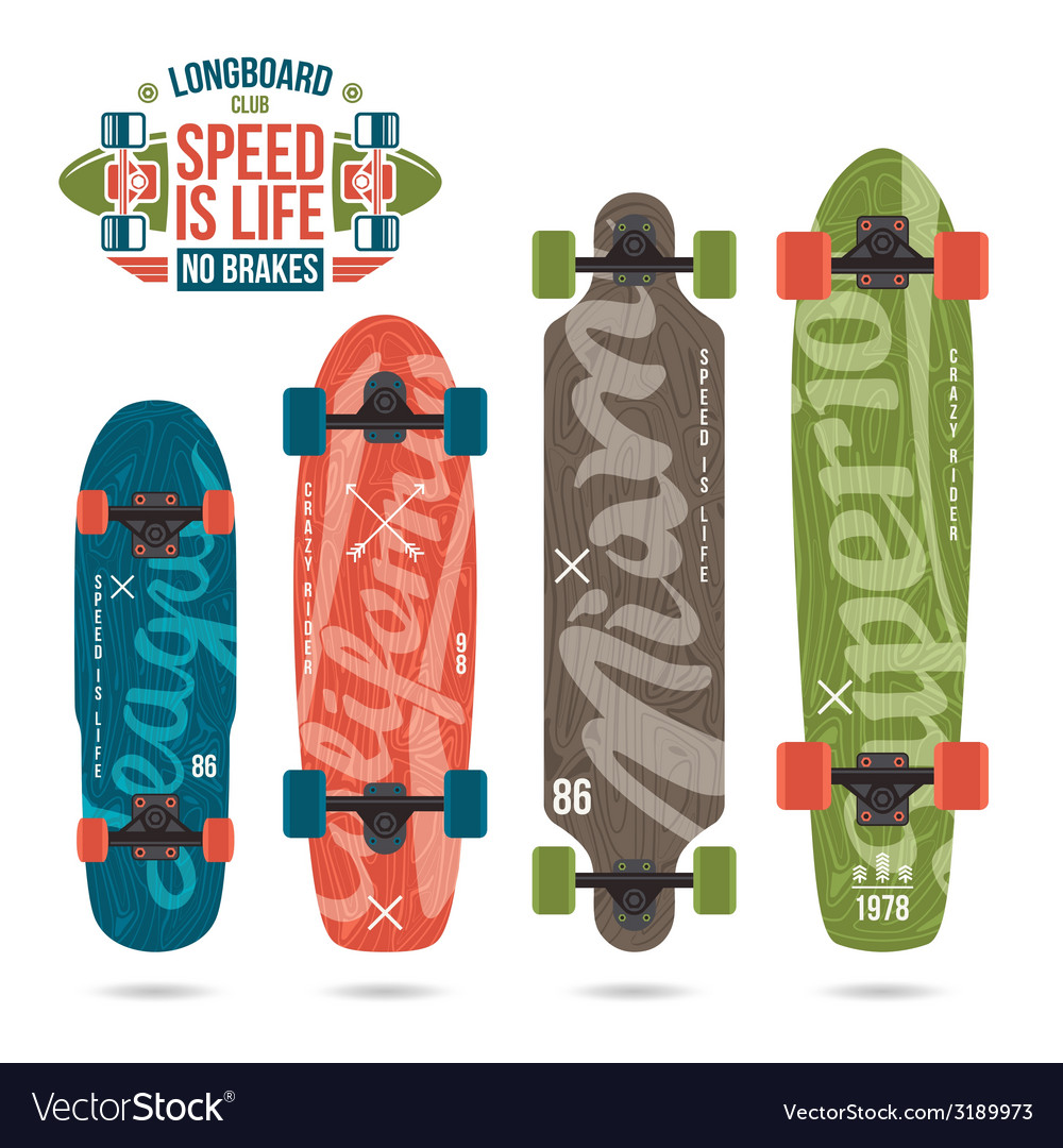 Set of prints on longboard vector | Price: 1 Credit (USD $1)