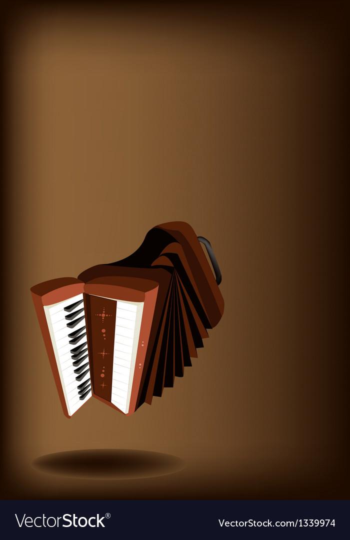 A retro accordion on dark brown background vector | Price: 1 Credit (USD $1)
