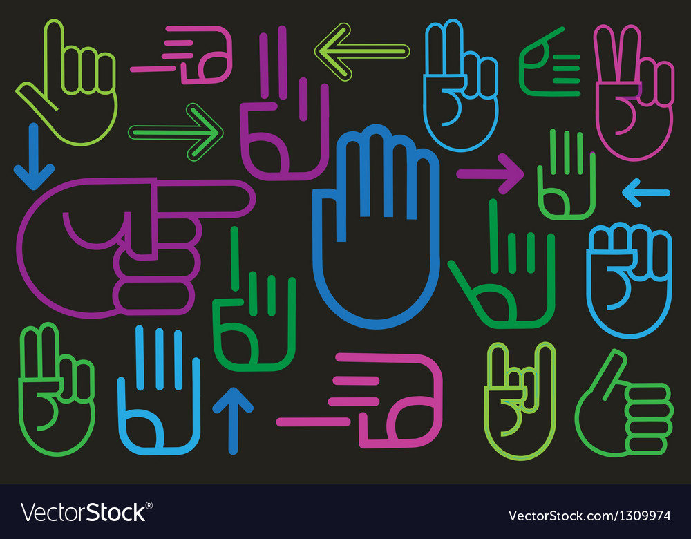 Background of various hand signs vector | Price: 1 Credit (USD $1)