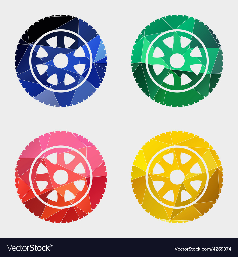 Car wheel icon abstract triangle vector | Price: 1 Credit (USD $1)