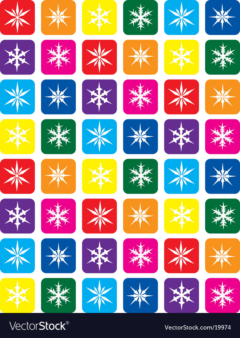 Color snowflake pattern background vector | Price: 1 Credit (USD $1)