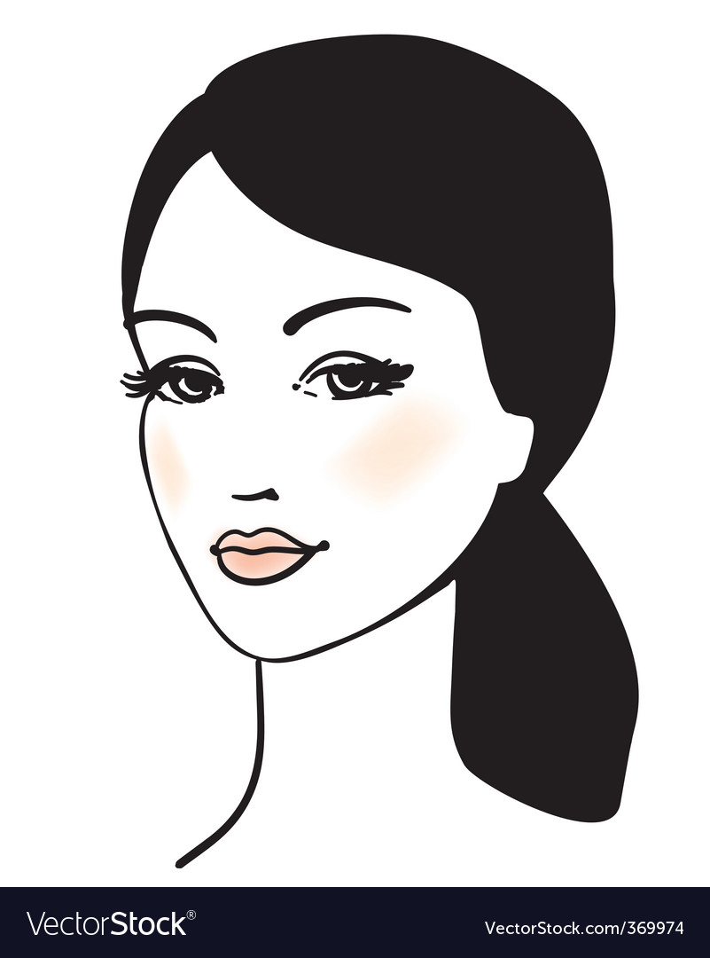 girl face vector portrait vector | Price: 1 Credit (USD $1)
