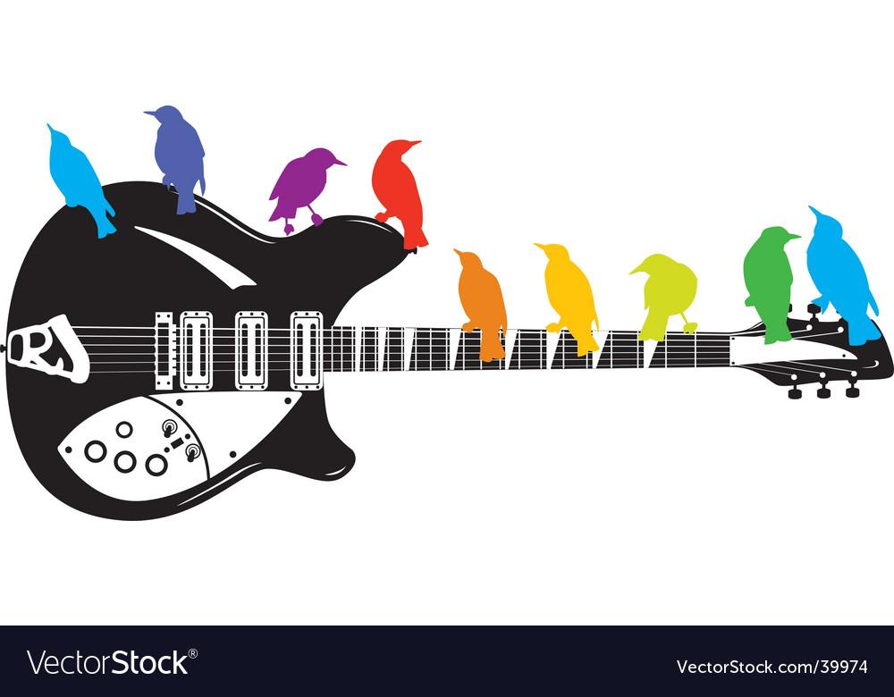 Guitar birds background vector | Price: 1 Credit (USD $1)