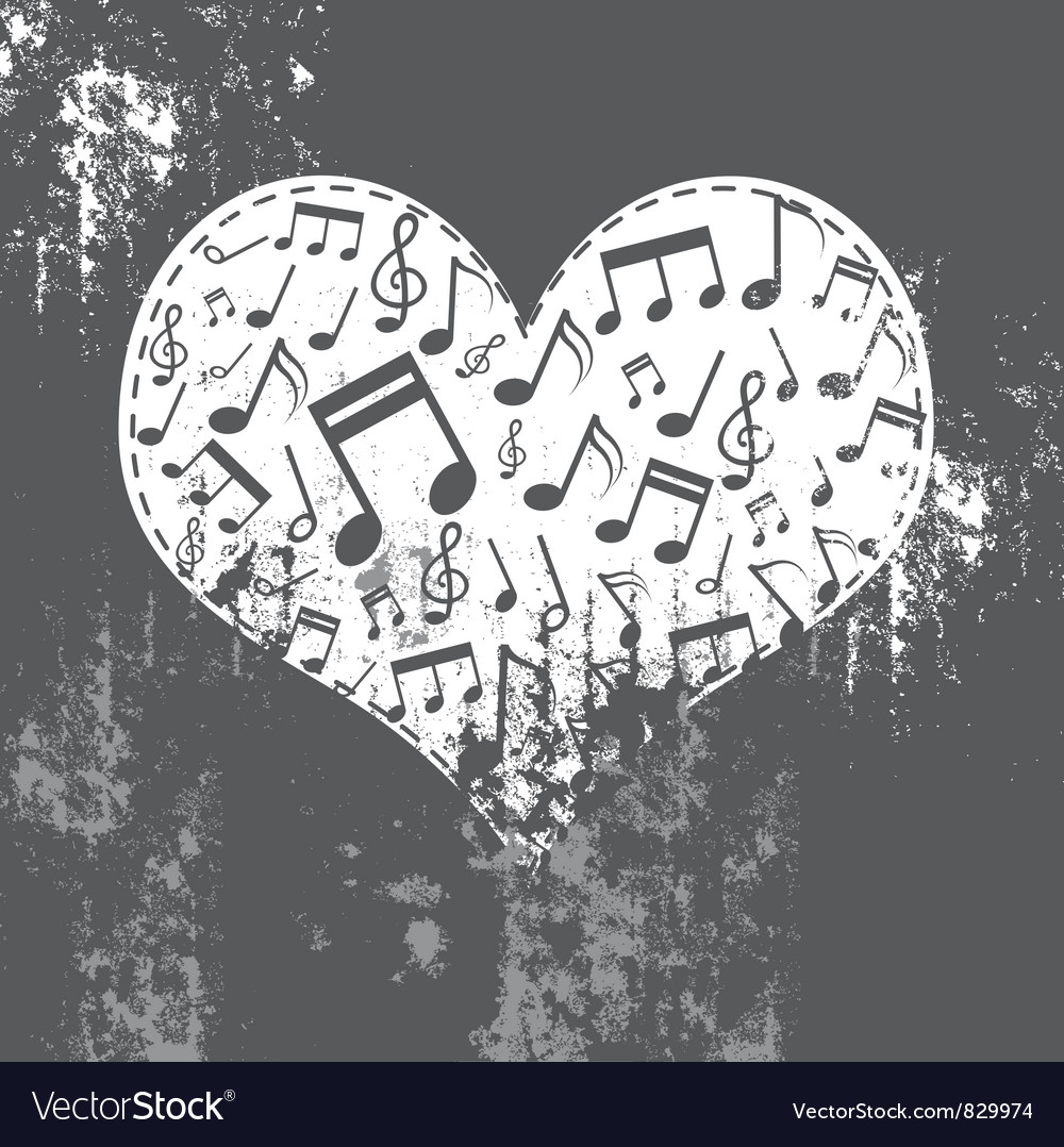 Heart grunge with music inside vector | Price: 1 Credit (USD $1)