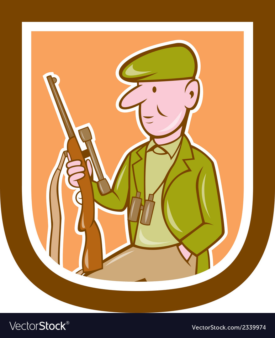 Hunter holding rifle shield cartoon vector | Price: 1 Credit (USD $1)