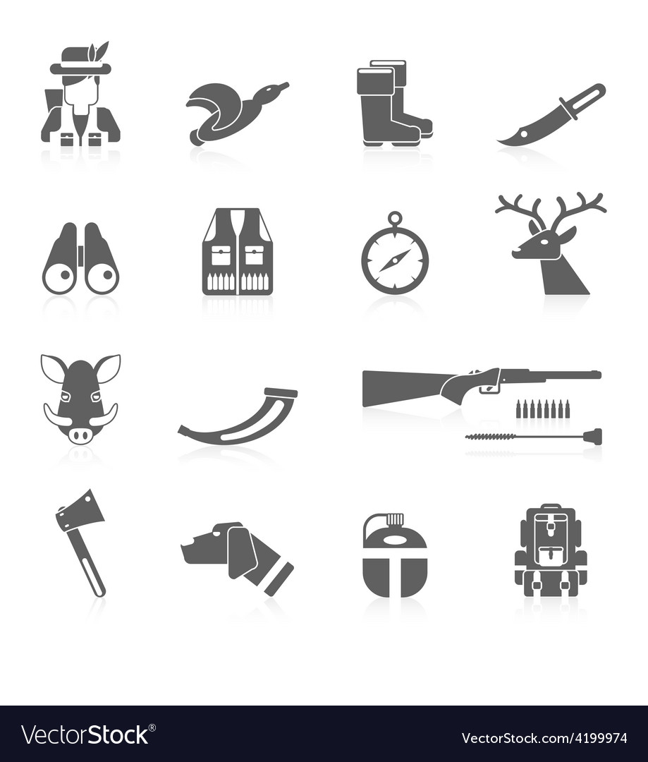 Hunting icon black set vector | Price: 1 Credit (USD $1)