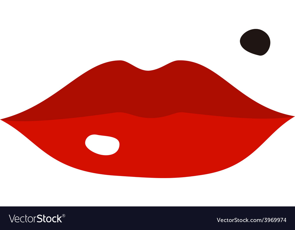 Lips and spot cartoon flat style vector | Price: 1 Credit (USD $1)