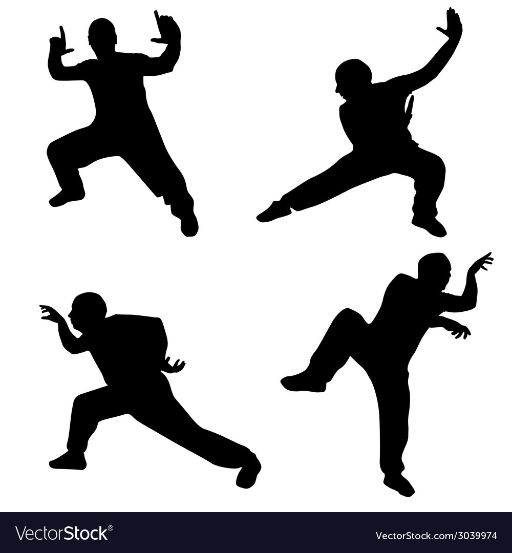 Man in martial poses silhouette vector | Price: 1 Credit (USD $1)