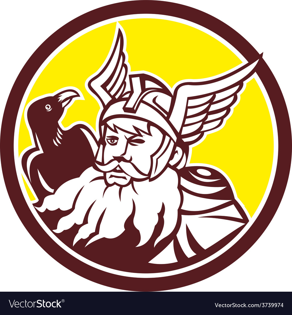 Norse god odin raven circle vector | Price: 1 Credit (USD $1)