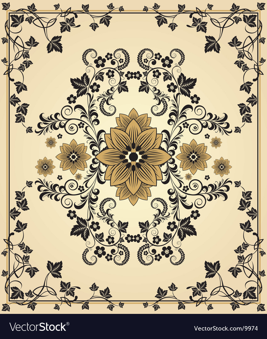 Retro floral frame vector | Price: 1 Credit (USD $1)