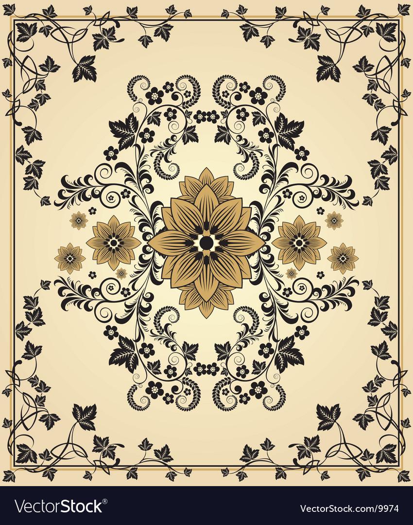 Retro floral frame vector | Price: 1 Credit (USD $1)