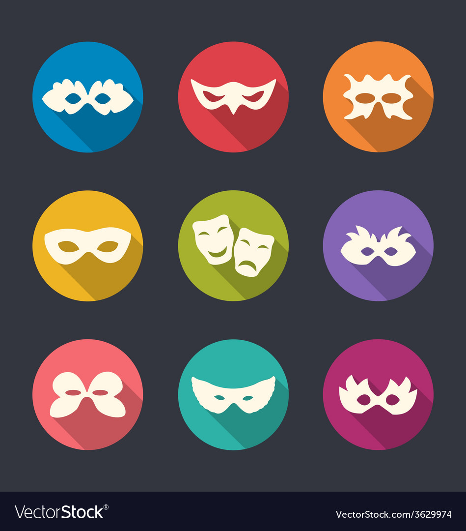 Set flat icons of carnival or theatre masks with vector | Price: 1 Credit (USD $1)