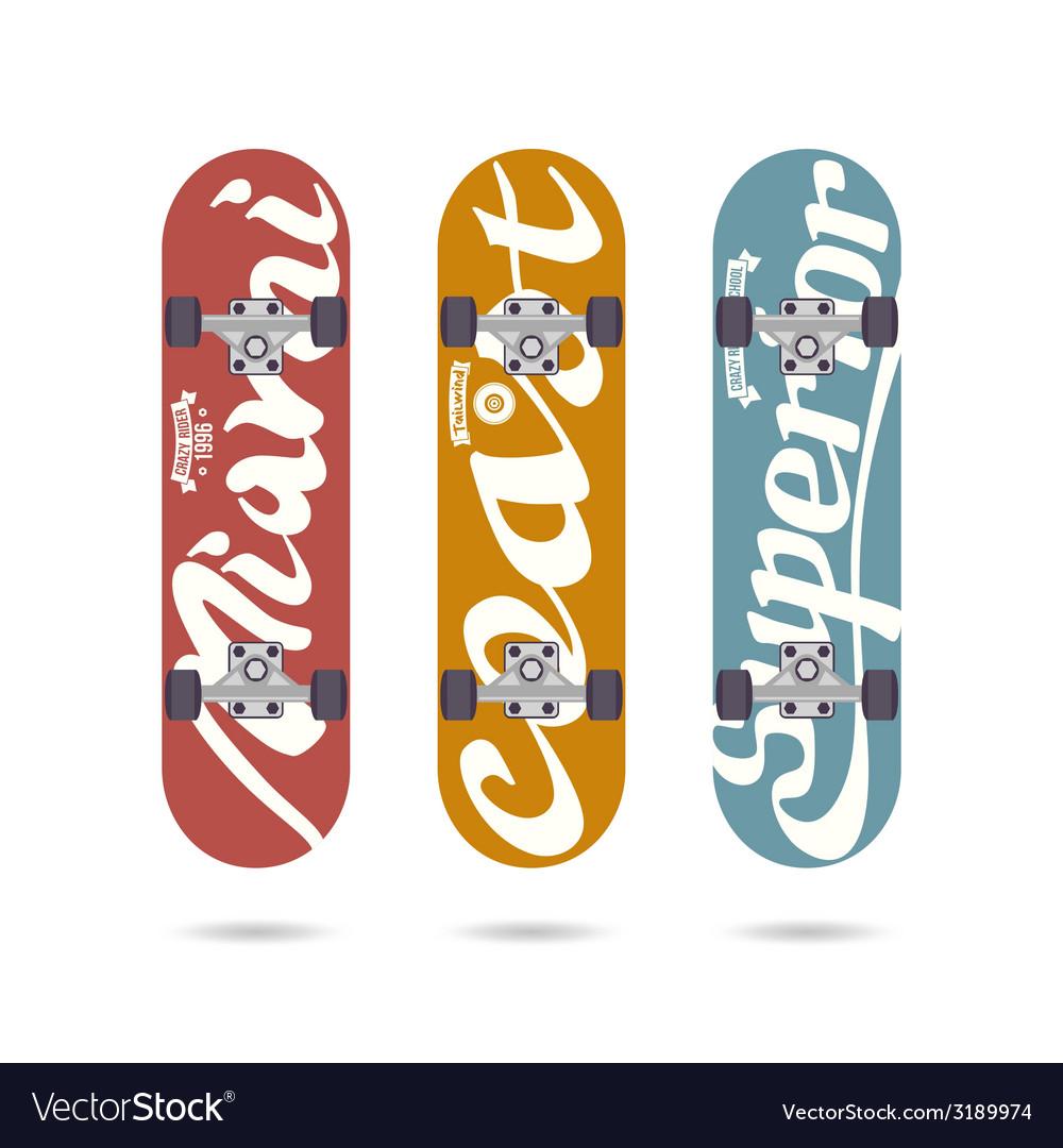 Set of retro vintage badges on a skateboard vector