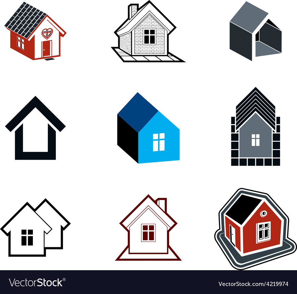 Simple cottages collection vector | Price: 1 Credit (USD $1)