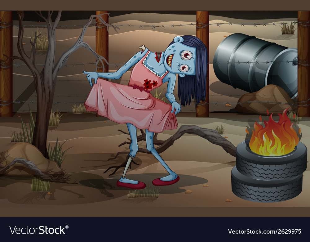 A female zombie near the flaming tires vector | Price: 3 Credit (USD $3)