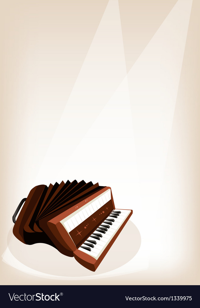 A retro accordion on brown stage background vector | Price: 1 Credit (USD $1)