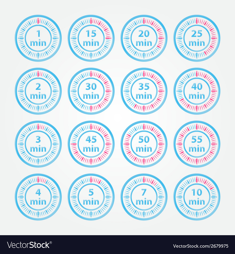 Abstract set of timers - blue timer icons vector | Price: 1 Credit (USD $1)
